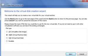 Virtual Machine wizard, Hard Disk