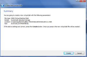 Summary page of Virtual Machine creation wizard